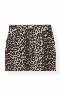 Ganni Printed Leopard Denim Skirt - DK36 Leopard