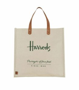 Embroidered Jute Grocery Shopper Bag