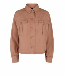 Pink Utility Pocket Cropped Shacket New Look