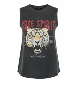 Dark Grey Tiger Print Slogan Tank Top New Look