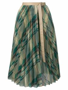 Sacai pleated check midi skirt - Green