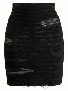Balmain distressed striped mini skirt - Black