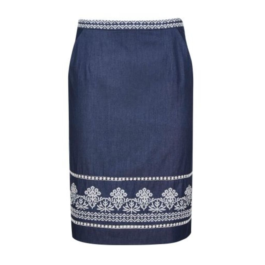 Blue Embroidered Border Skirt