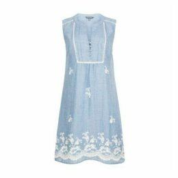 Blue Embroidered Hem Dress