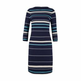 Slash Neck Variegated Stripe Dress