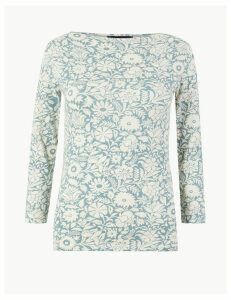M&S Collection Cotton Rich 3/4 Sleeve Fitted T-Shirt