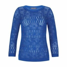 Blue Three Quarter Sleeve Crochet Jumper