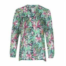 Tropical Leaf Voile Blouse