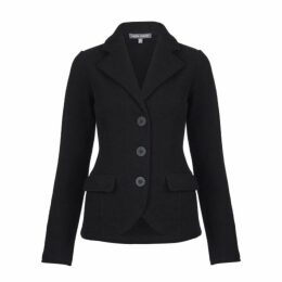 Black Boiled Wool Blazer Cardigan