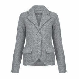 Grey Boiled Wool Blazer Cardigan