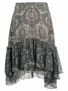 Chloé tile print ruffled skirt - Brown