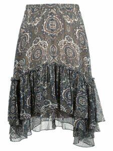 Chloé tile print ruffled skirt - Brown