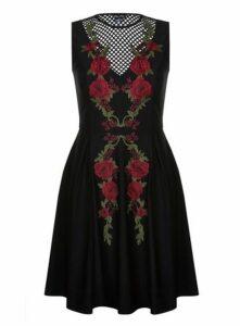 **City Chic Black Adore Rose Skater Dress, Black