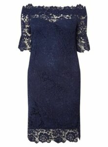 Paper Dolls Crochet Bodycon Dress, Navy