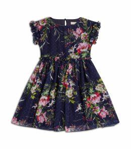 Floral Plumetis Ruffle Dress