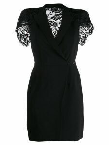 Elisabetta Franchi lace back mini wrap dress - Black