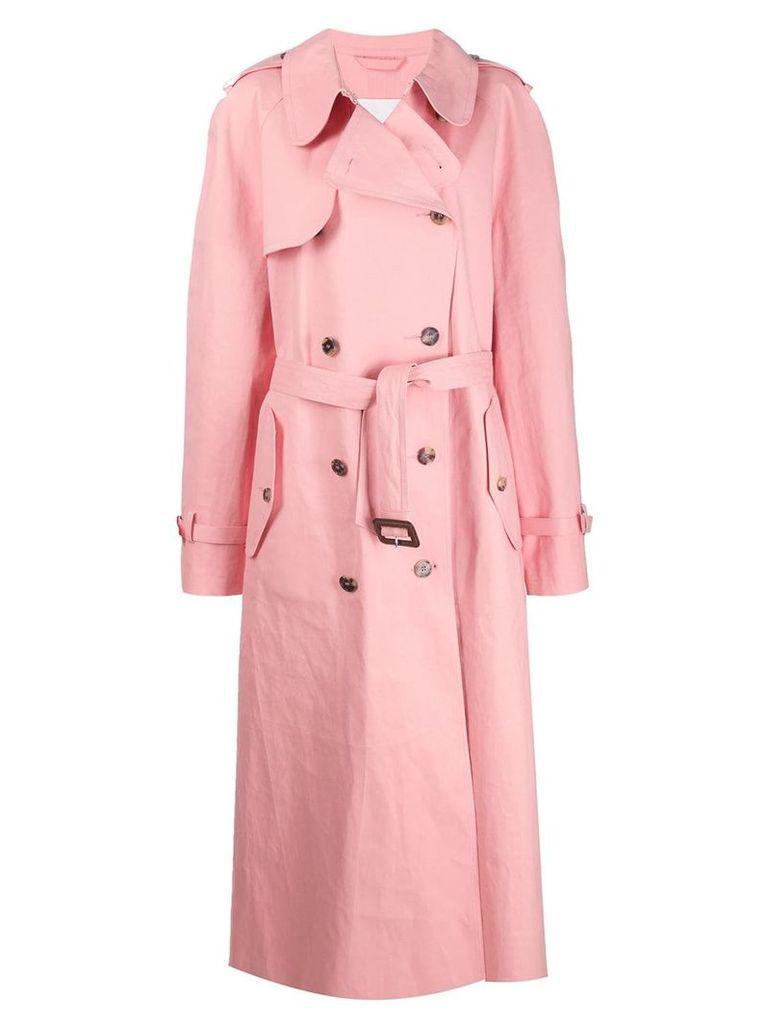 Mackintosh MAISON MARGIELA Pink Bonded Cotton Oversized Trench Coat