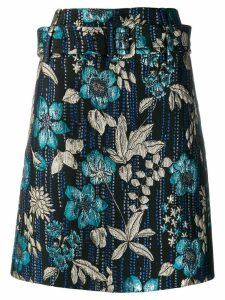 Prada jacquard embroidered floral skirt - Blue