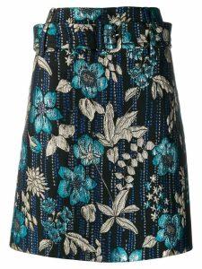 Prada jacquard embroidered floral skirt - Blue