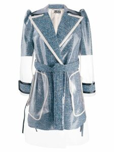 Elisabetta Franchi clear panel coat - Blue