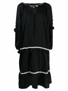 McQ Alexander McQueen embroidered wavy stripe dress - Black