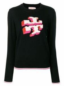 Tory Burch knitted logo jumper - Black