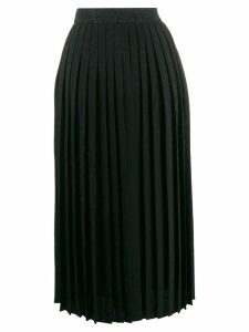 Off-White logo embroidered pleated skirt - Black