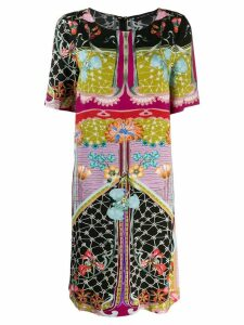 Etro surrealist garden print tunic dress - Black