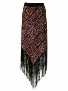 Cecilia Prado diamond fringed knitted skirt - Black
