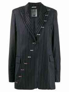 Youser striped button hole blazer - Blue