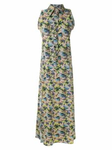 Amir Slama sleeveless floral shirt dress - Neutrals