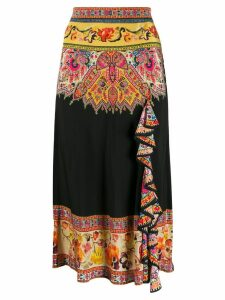 Etro embroidered frill-trim skirt - Black