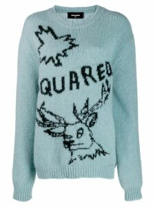 Dsquared2 oversized embroidered motif sweater - Blue