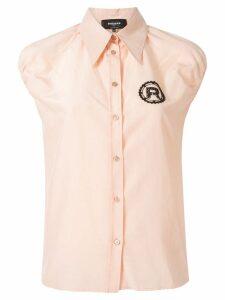 Rochas beaded logo sleeveless shirt - Pink