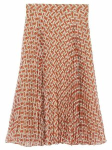 Burberry Monogram Print Chiffon Pleated Skirt - Red