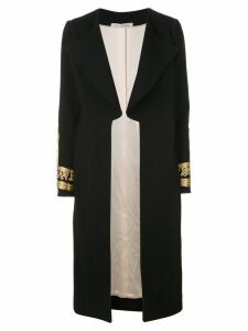 Oscar de la Renta embroidered cuffs coat - Black