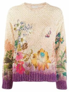 Etro floral embroidered sweater - Purple