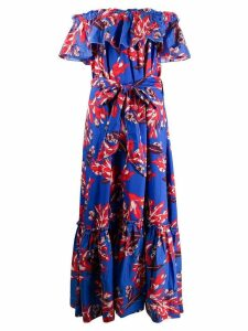 P.A.R.O.S.H. off-shoulder floral dress - Blue