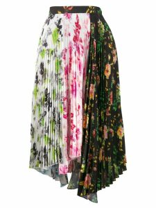 MSGM asymmetric floral print pleated skirt - White