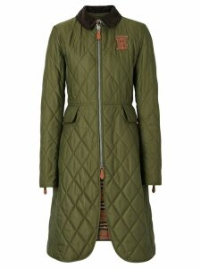 Burberry Monogram Motif Quilted Riding Coat - Green