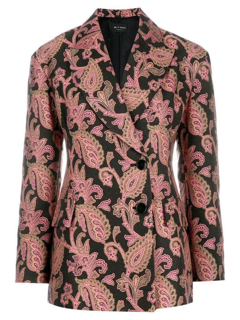 Etro paisley wrap front blazer - Black