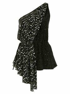 Andrea Marques one shoulder silk top - Black