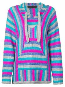 The Elder Statesman striped knitted hoodie - Blue
