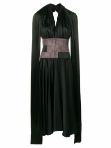 Christopher Kane satin crystal halter neck dress - Black