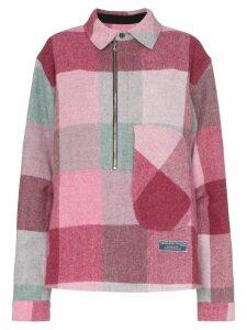 We11done check print zipped shirt - Pink