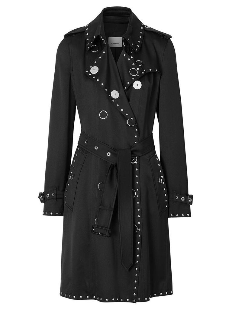 Burberry Stud Detail Silk Satin Trench Coat - Black