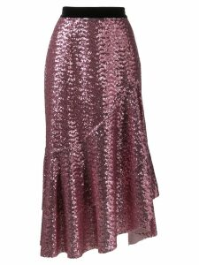 In The Mood For Love Bony sequin asymmetric skirt - Pink