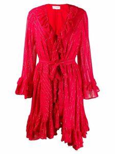 Sundress ruffled long sleeve dress - Red