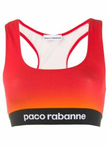Paco Rabanne cropped colour-block top - Red