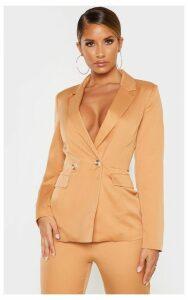 Camel Boyfriend Button Front Woven Blazer, Camel